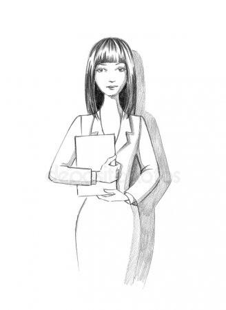 рисунок девушки по пояс 003