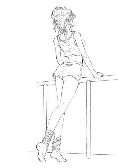 рисунок девушки по пояс 008