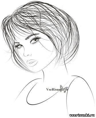 рисунок девушки по пояс 011