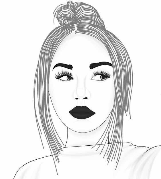 рисунок девушки по пояс 012