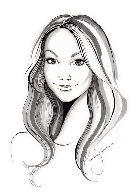 рисунок девушки по пояс 016