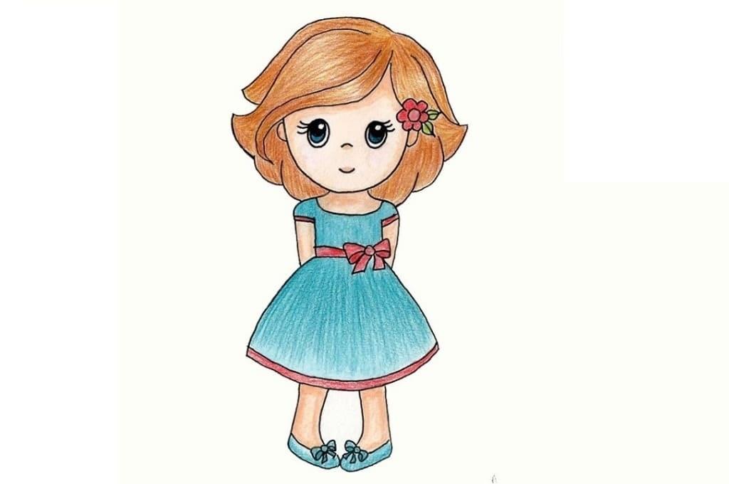 рисунок девушки по пояс 017