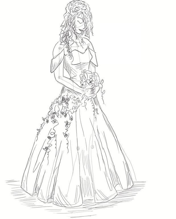 рисунок девушки по пояс 018
