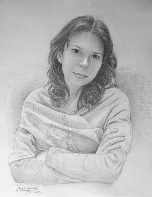 рисунок девушки по пояс 019