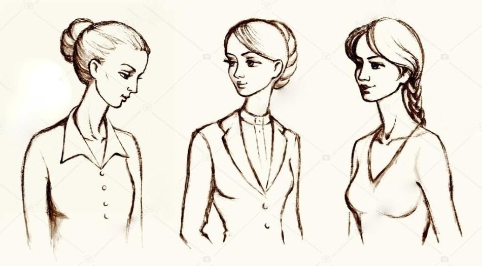 рисунок девушки по пояс 022