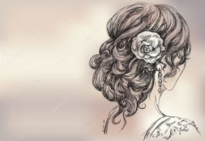 рисунок девушки с прической 024