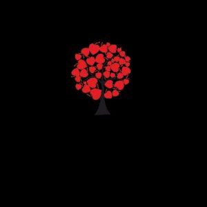 рисунок дерева с сердечками 022