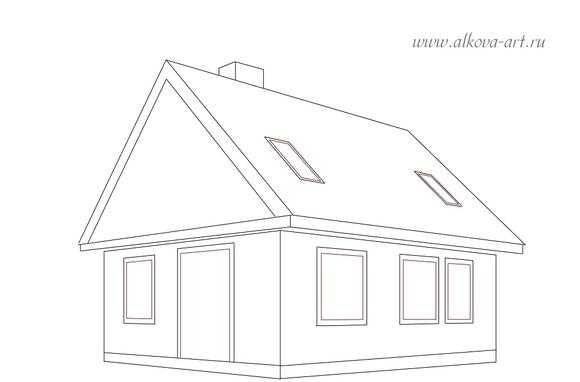 рисунок карандашом дом на дереве 001