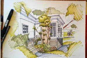рисунок карандашом дом на дереве 022