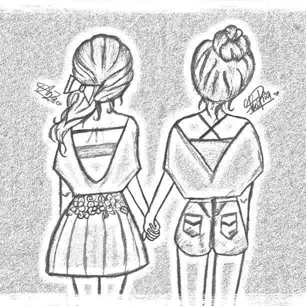 рисунки про подруг карандашом легко и красиво колокола вешали