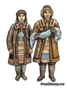 рисунок эвенки национальный костюм 021