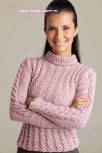 розовый свитер вязаный спицами 022