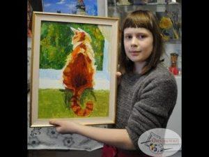 рыжий кот картина маслом 024