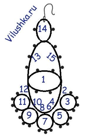 схема галстука фриволите 001