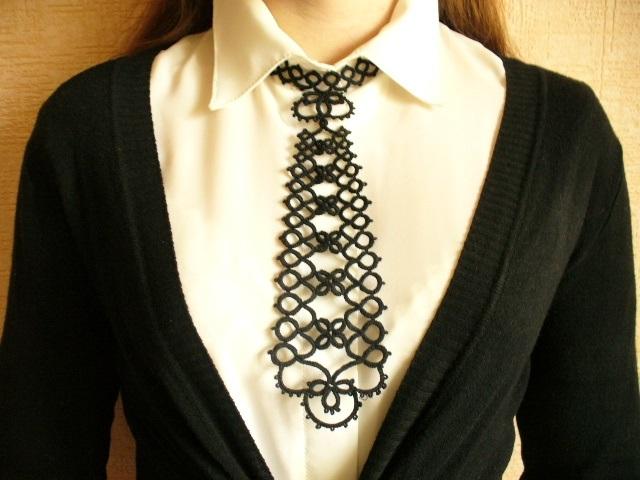 схема галстука фриволите 018