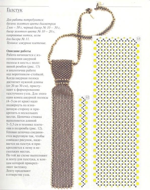схема галстука фриволите 020