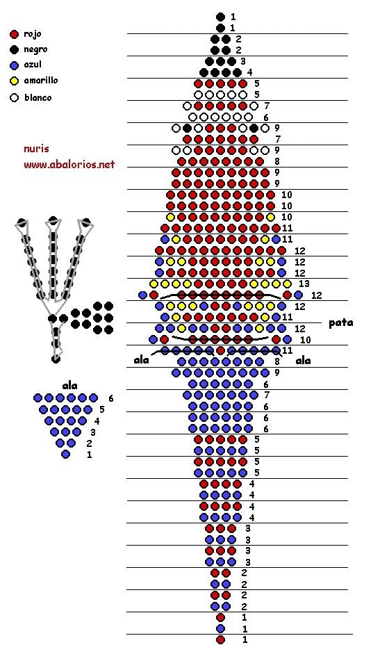 схема попугая из бисера 020