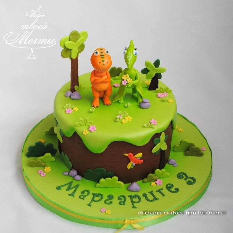 торт динозавры из мастики 002