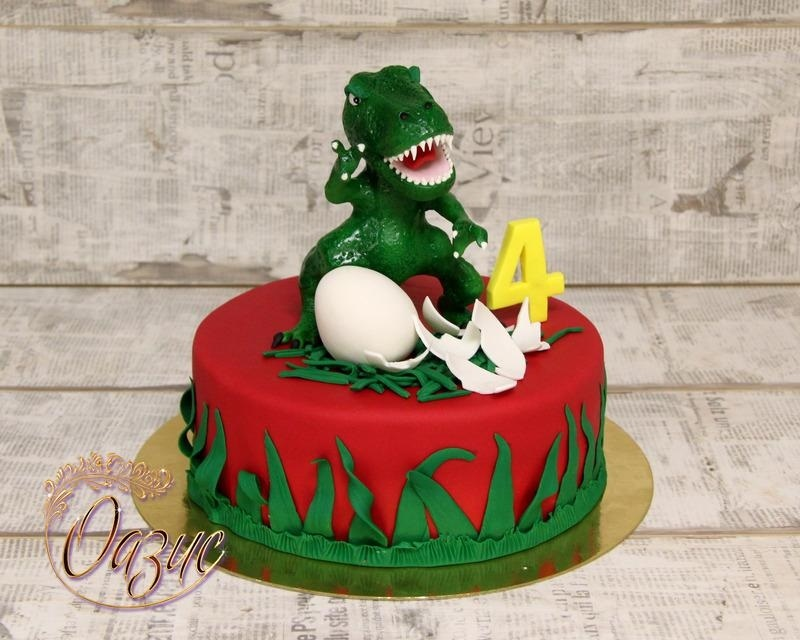 торт динозавры из мастики 005