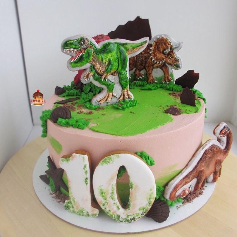 торт динозавры из мастики 006