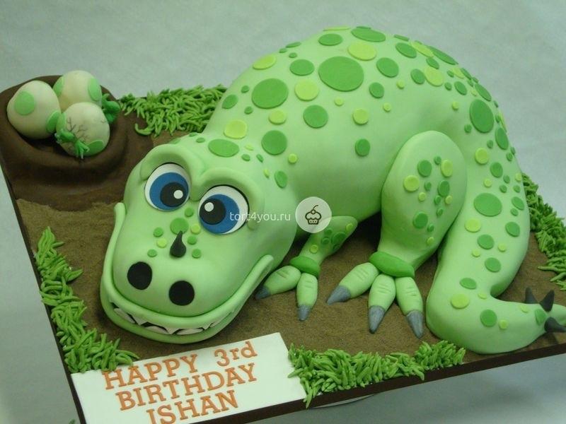 торт динозавры из мастики 007