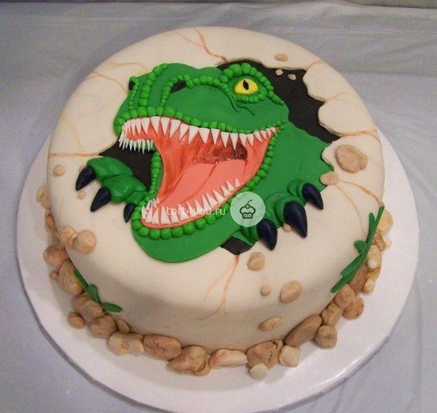 торт динозавры из мастики 009