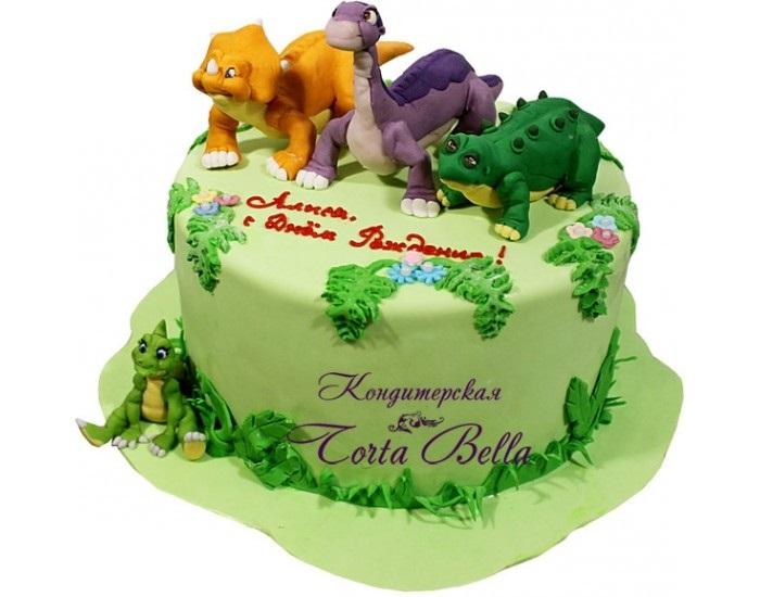торт динозавры из мастики 012