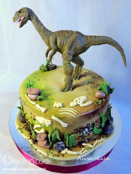 торт динозавры из мастики 013