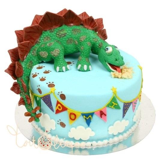 торт динозавры из мастики 014