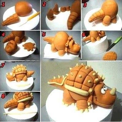 торт динозавры из мастики 016