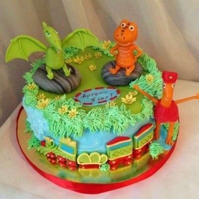 торт динозавры из мастики 017
