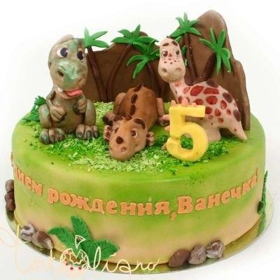 торт динозавры из мастики 020