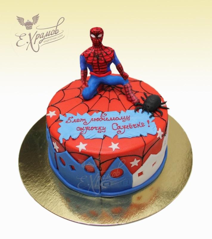 торт на тему человек паук 004