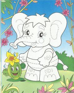 трафарет слоника для аппликации 021