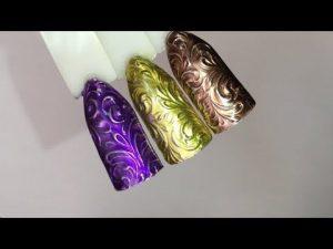 чеканка дизайн ногтей 024