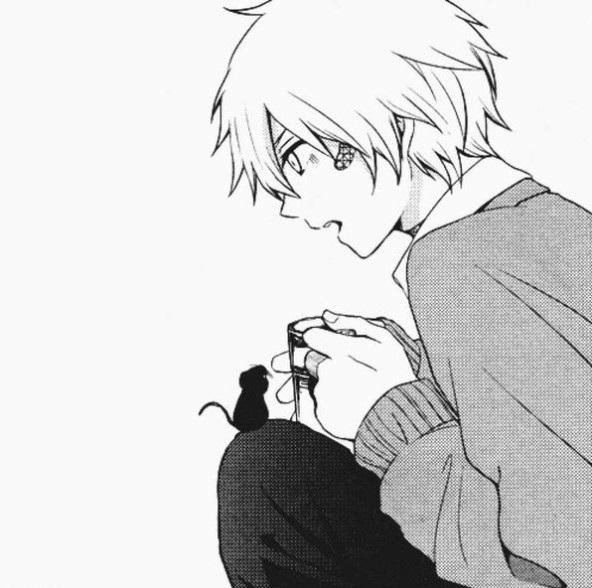 черно белые картинки парней с аниме 003