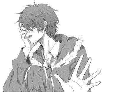 черно белые картинки парней с аниме 019