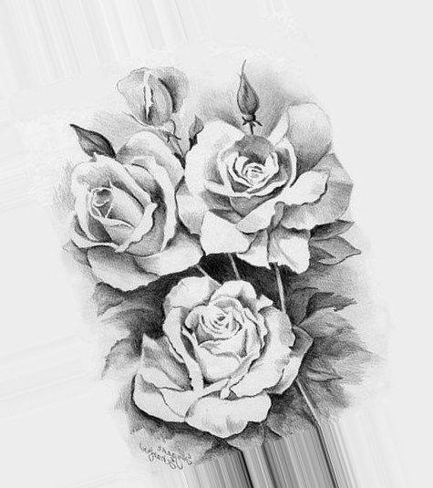 черно белые розы для декупажа 003