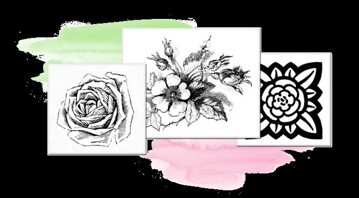 черно белые розы для декупажа 006