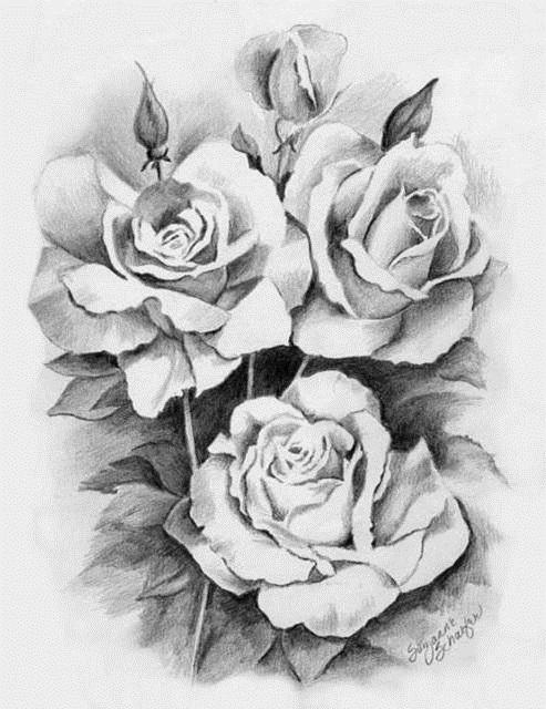 черно белые розы для декупажа 016