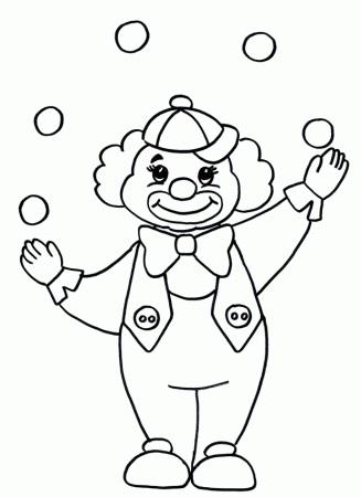 черно белый рисунок клоуна 023