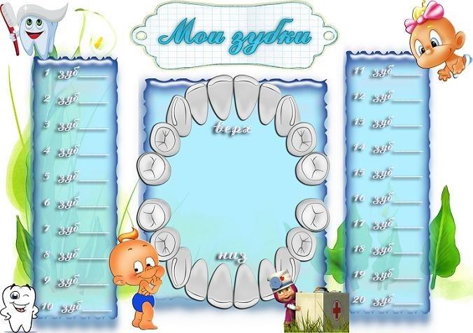 картинка для отметок прорезывания зубов большинстве