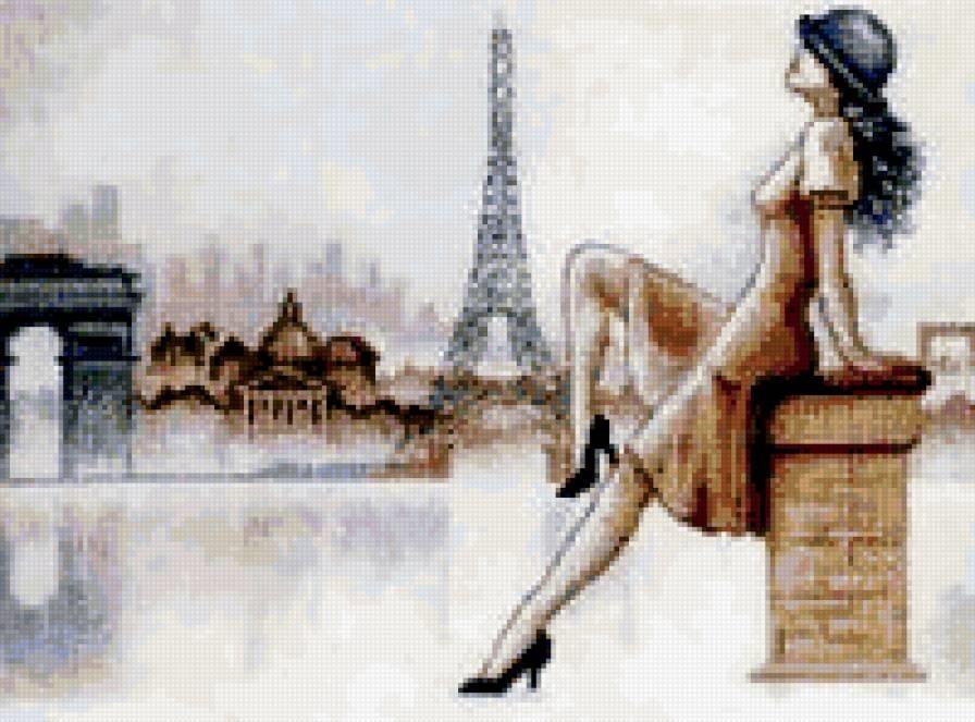 эйфелева башня и девушка 006
