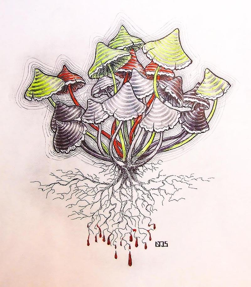 эскизы грибов 001