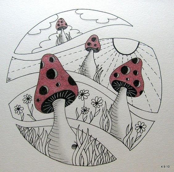 эскизы грибов 008