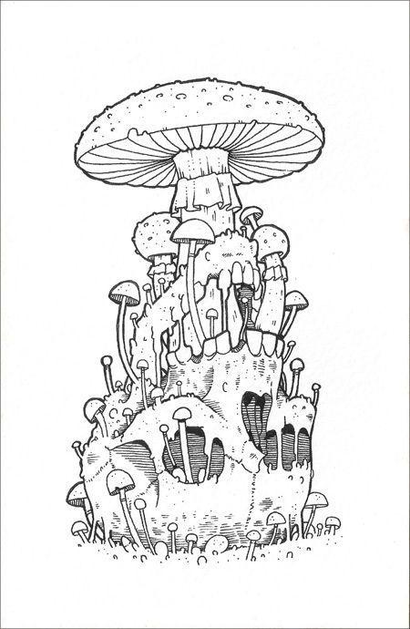 эскизы грибов 016