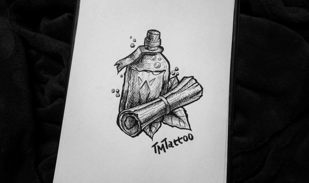 эскиз тату бутылка 002