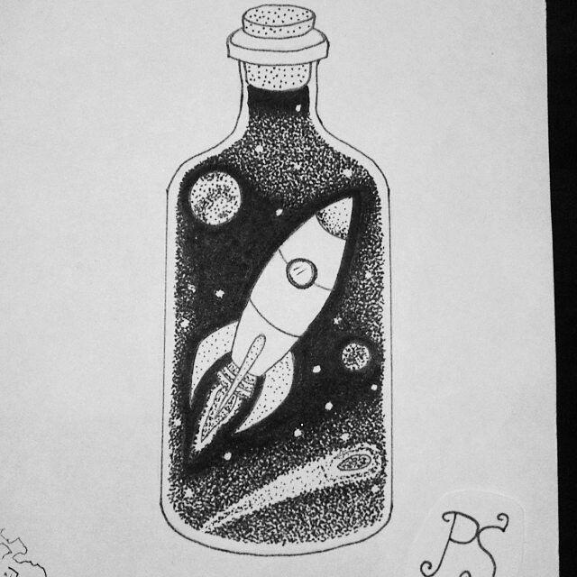 эскиз тату бутылка 004