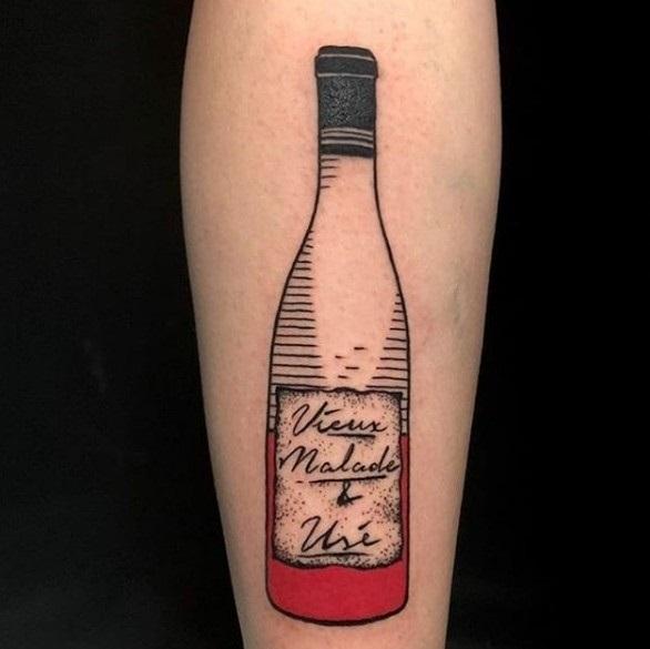 эскиз тату бутылка 018