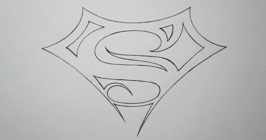 эскиз тату знак супермена 021